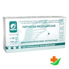 Перчатки INEKTA диагностические латексные нестерильные неопудренные 2-Хлоринация