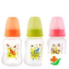 Бутылочка для кормления МИР ДЕТСТВА 11212 эргономичной формы с силиконовой соской, 125мл, 0+