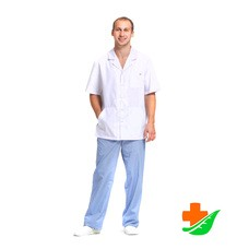 Блуза медицинская ДОКТОР СТИЛЬ Скай мужская белая рост 182-188