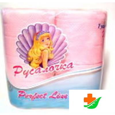 Туалетная бумага РУСАЛОЧКА розовая 4 рулона