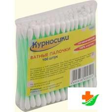 Ватные палочки КУРНОСИКИ в пакете 100 шт 40052