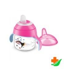 Чашка-непроливайка PHILIPS Avent SCF751/07 розовая 200мл 6+