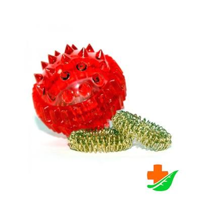 Массажер для рук Массажный шарик Су-Джок с двумя металлическими кольцевыми пружинами