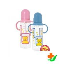 Бутылочка с ручкой КУРНОСИКИ 11005 силиконовая соска 250мл 6+