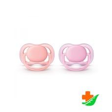 Пустышка PHILIPS Avent Ultra Air SCF245/20 силиконовая для девочек 2шт 0-6мес