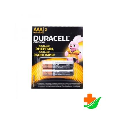 Батарейка DURACELL Original мизинчиковые AAA LR03-2BL MN2400, 2шт в Барнауле