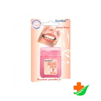 Зубная нить DONFEEL Donfeel floss UF-623 противомикробная с воском 50 м в Барнауле