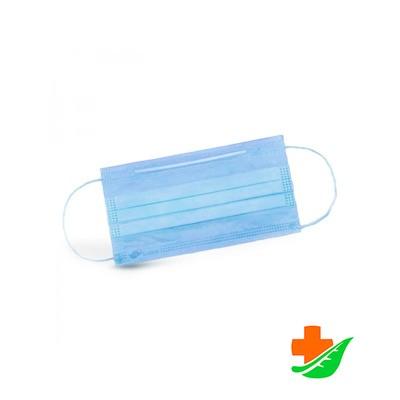 Маски медицинские ELEGREEN 3-слойные с носовым фиксатором голубые №50