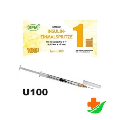 Шприц инсулиновый SFM U-100 со съёмной иглой 26G 0,45х12 трёхкомпонентный 1мл