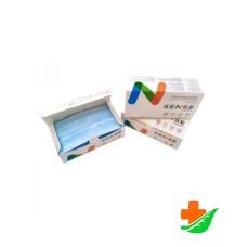 Маска медицинская SENSE 3-слойная на резинке голубая