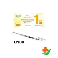 Шприц SFM инсулиновый U-100 трехкомпонентный 1мл с иглой 0,45х12-26G